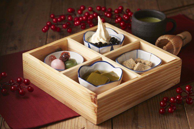 一次可吃到4種甜點的「日式四格甜點」,每份125元。圖/京都勝牛提供
