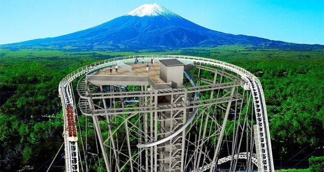 為慶祝園內的雲霄飛車「FUJIYAMA」迎來25週年,富士急公園將建設新設施「FUJIYAMA塔」。圖擷取自富士急樂園