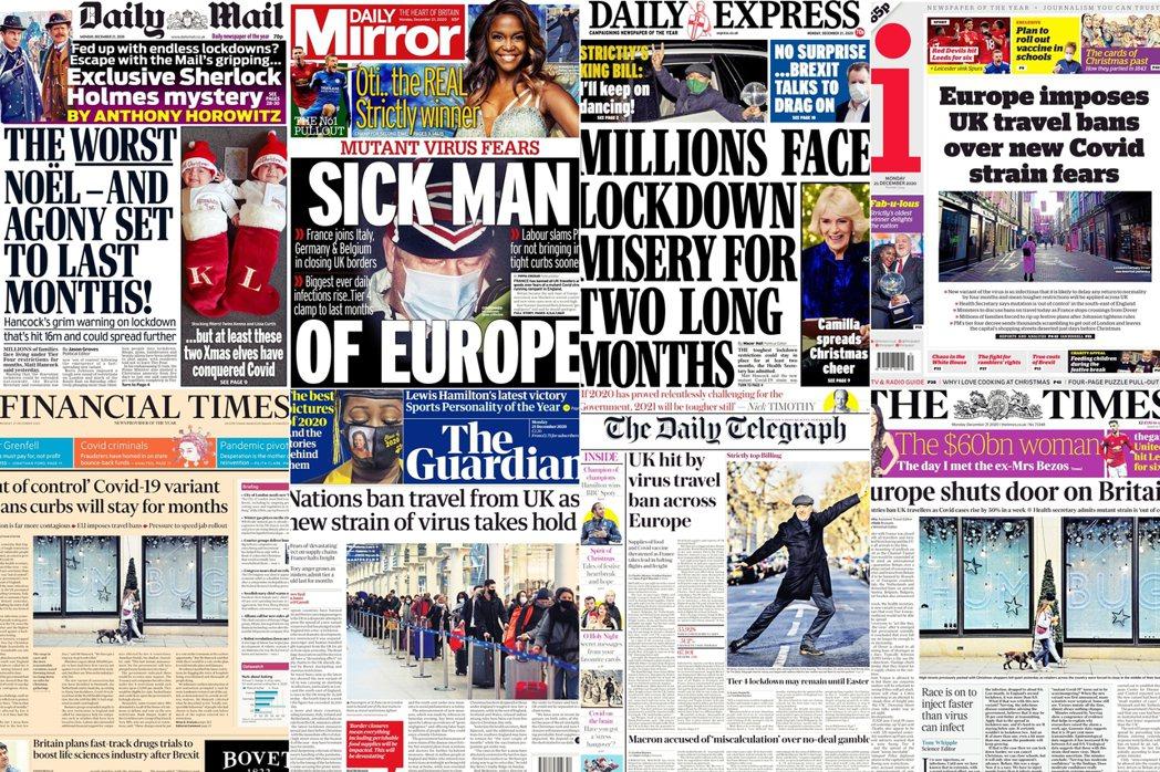 上排左二的英國《每日鏡報》,以「歐洲病夫」標題抨擊強生的防疫失敗。
