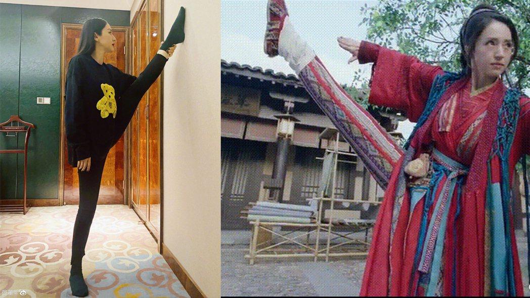 董璇在「有翡」中一幕抬腿畫面被說是假腿,她親曬照回應。圖/擷自微博