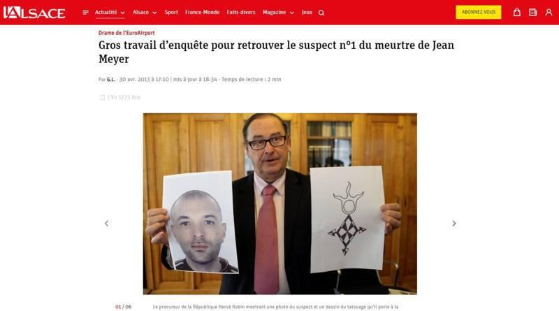 法国媒体L'Alsace 2013年有关逃犯瓦利(Karim Ouali)的报道,警方发现他的大腿刻有一个神秘的纹身符号。 图/L'Alsace网页截图(photo:UDN)