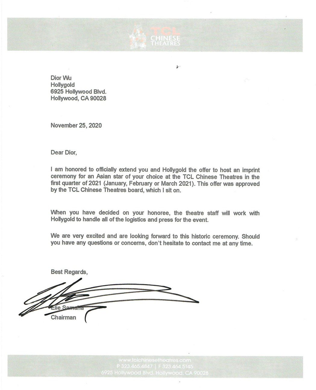 TCL中國戲院主席Elie Samaha簽授權書給HollyGold,推選大中華...