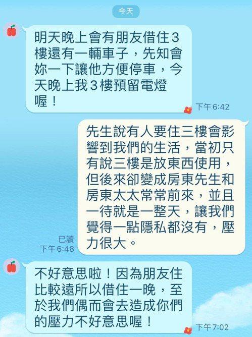 網友抱怨,房東三天兩頭就讓親戚朋友來房內借住,還要他讓出車位。圖/取自臉書