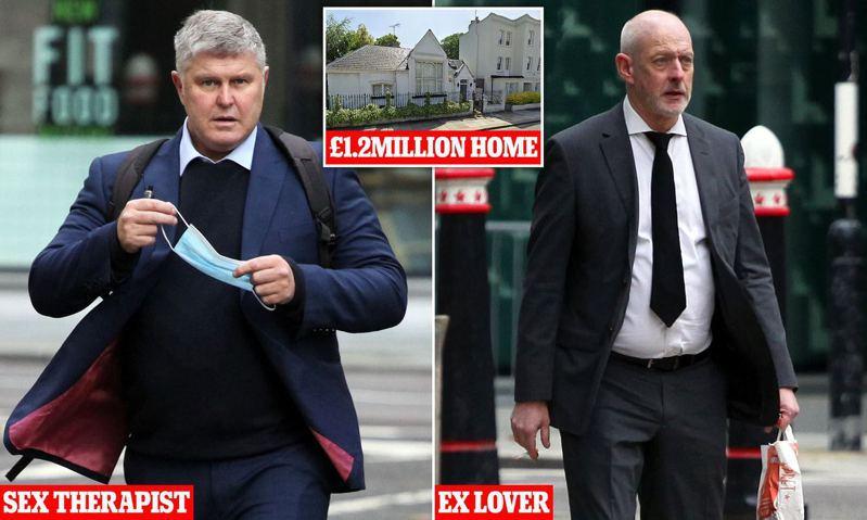 性愛治療師(圖左)為了25萬英鎊分手費跟前男友(圖右)對簿公堂。兩人同居的房子市價1.2百萬英鎊(圖中)。圖/取自dailymail