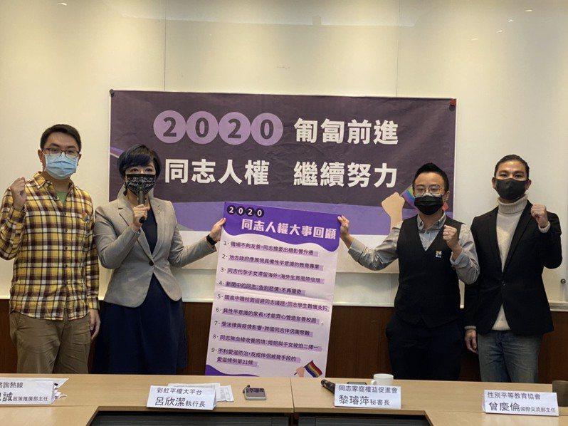 彩虹平權大平台、台灣同志諮詢熱線協會、台灣同志家庭權益促進會、台灣性別平等教育協會今召開「2020 匍匐前進,同志人權繼續努力」,回顧今年度重要同志人權事件。記者葉冠妤/攝影
