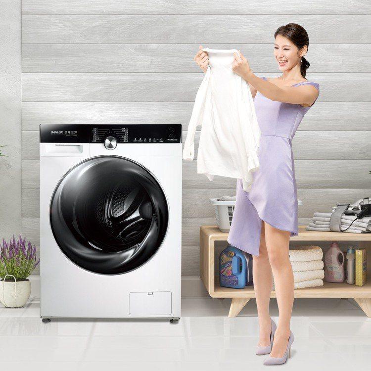 台灣三洋媽媽樂滾筒洗衣機,搭載4段水溫加熱預洗行程,搭配冷凝式乾衣系統,洗脫烘一...