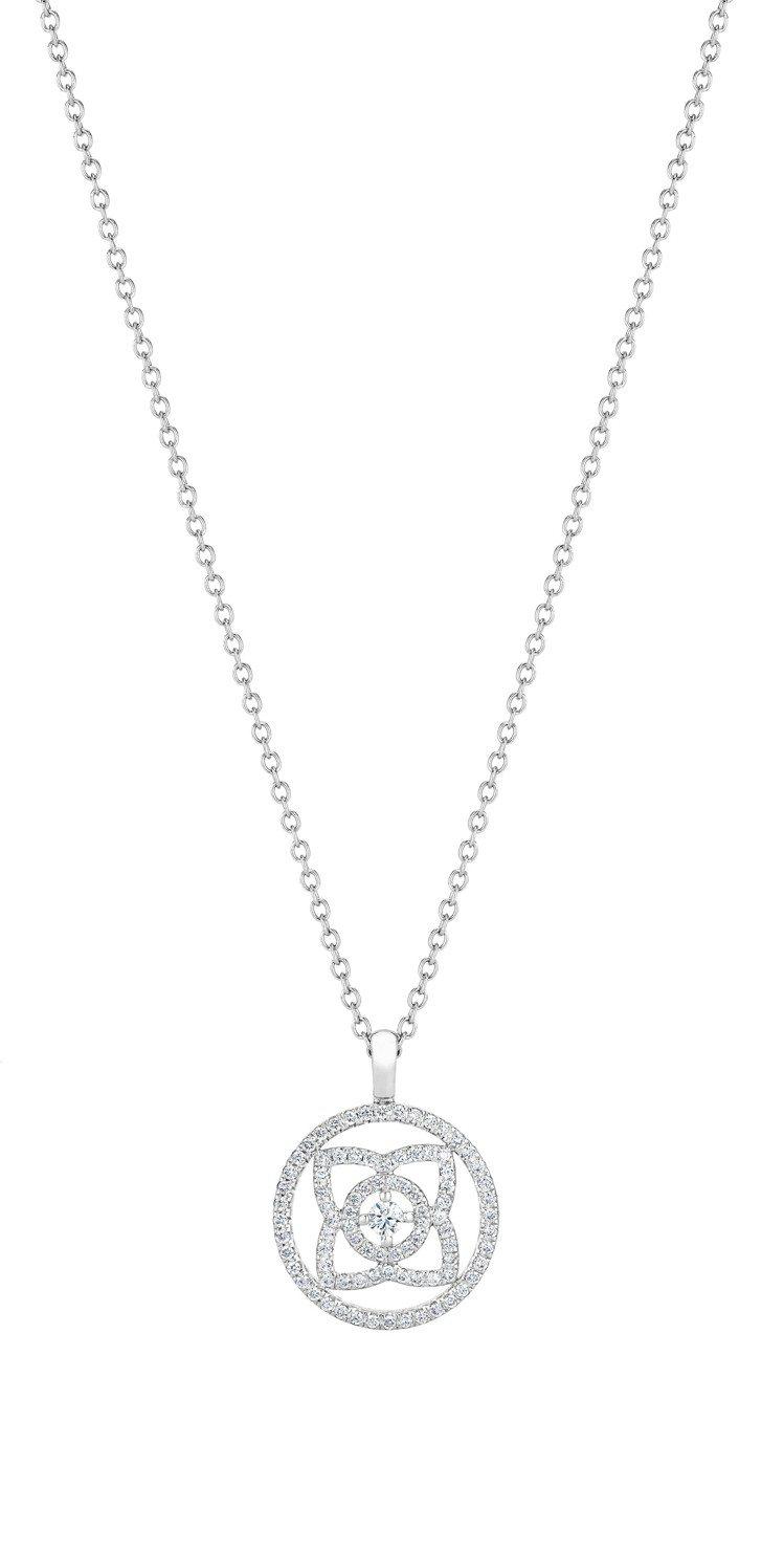 DE BEERS Enchanted Lotus 18K白金鏤空鑽石圓牌吊墜項鍊...