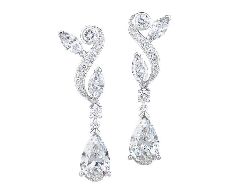 DE BEERS Adonis Rose 18K白金梨形鑽石垂墜式耳環,價格店洽...