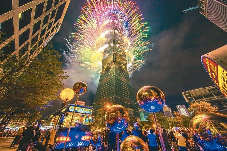 圖為台北101公布2021年的跨年煙火示意圖。圖/台北101提供