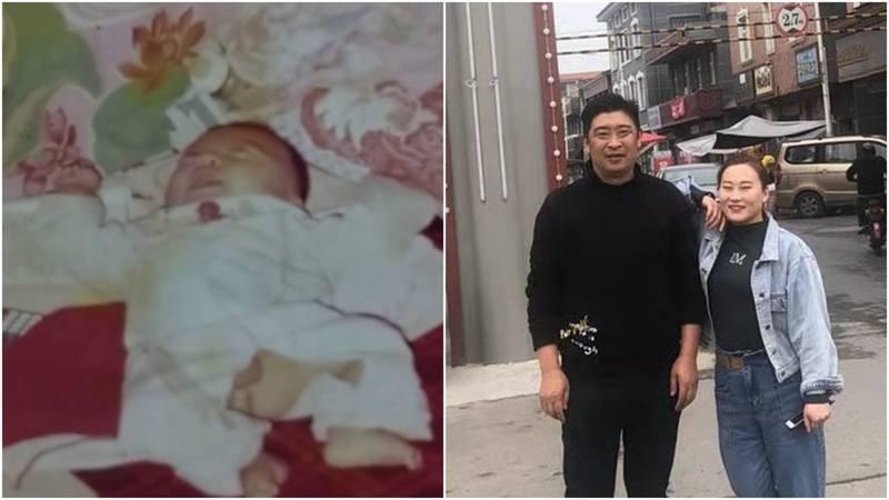 上海夫婦劉義功、時紅蓮(圖右)高調尋找19年前被他們棄養的兒子(圖左)。圖片來源:大公報