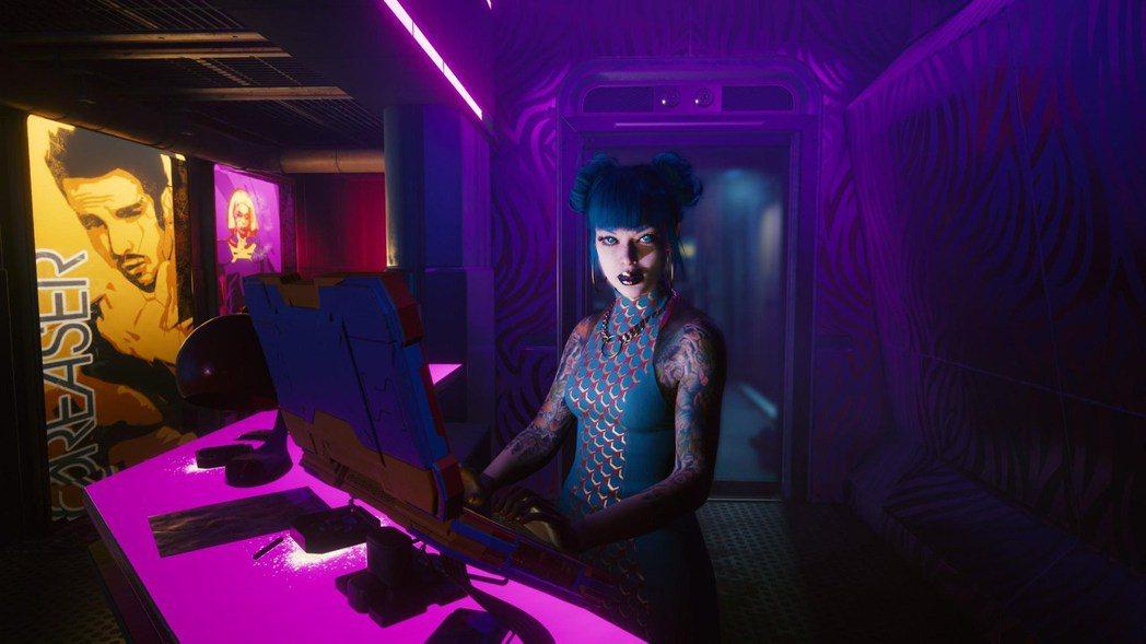 2077的人類可以用手一揮來匯款或是傳送一些簡單資料,當對方接收時眼睛就會發光閃...