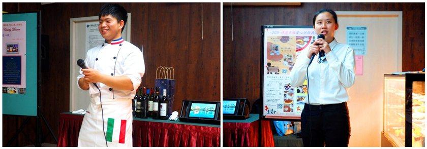 中國科大觀光與休閒事業管理系學生羅貴倫(左)與廖紋妮說明本次主題由競賽作品延伸發...