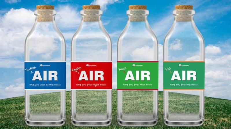 英国行李运输公司「My Baggage」推出取自英国、苏格兰、威尔斯和北爱尔兰等地的空气,每瓶500毫升的空气要价25英镑(约新台币942元)。My Baggage(photo:UDN)