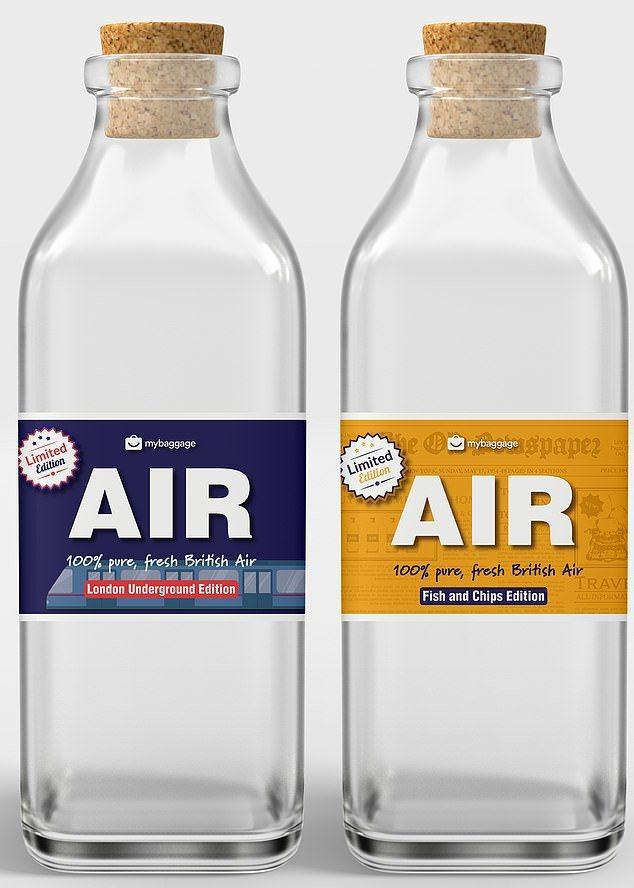 My Baggage还推出「限量款」空气瓶,包括专门取自伦敦地铁以及诺福克一家炸鱼薯条店的空气。My Baggage(photo:UDN)