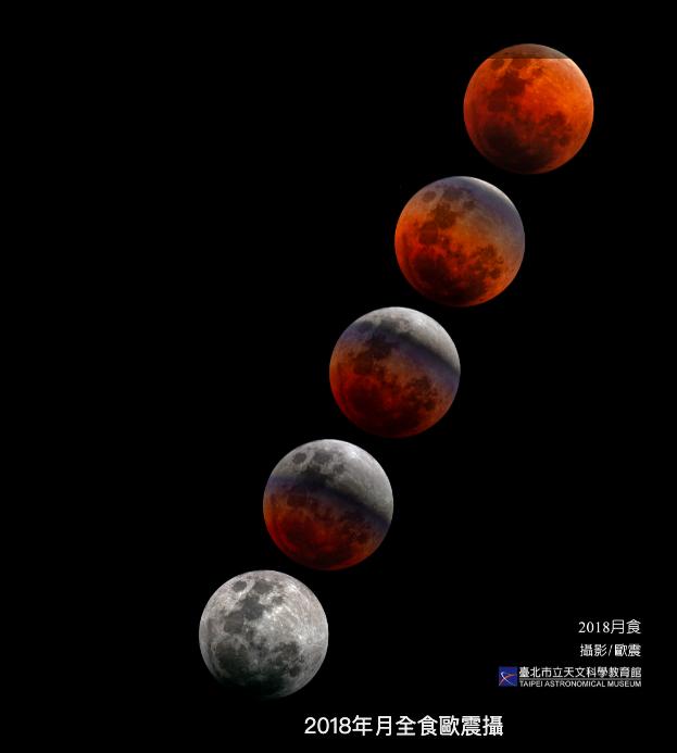 台北市立天文教育館表示,台灣明年可見兩次月食,分別於5月26日的月全食、及11月19日的月偏食。(圖為2018年月全食拍攝影像)圖/北市立天文教育館提供