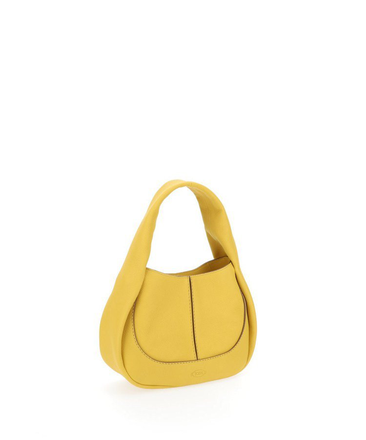 TOD'S Shirt Bag鸚鵡黃圓弧肩背包,56,300元。圖/迪生提供