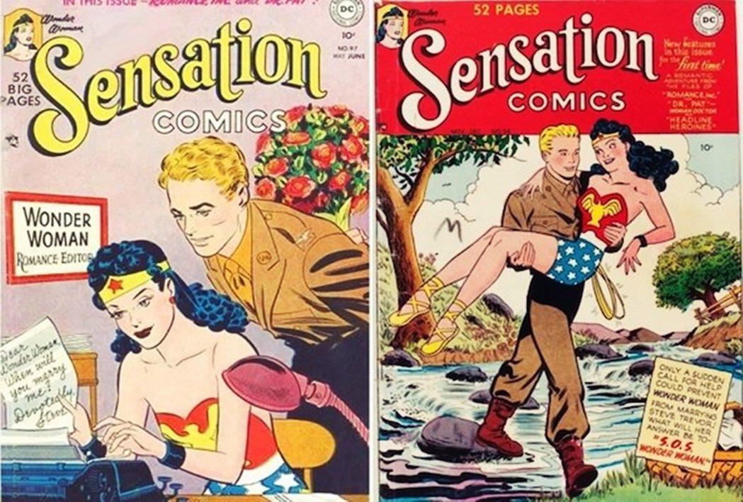 神力女超人的親密關係,也會隨著漫畫演進而改變。左側為1950年,當時開始風行的是...