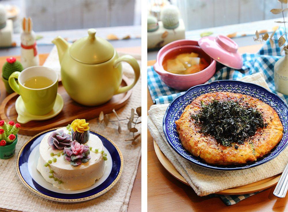 (左)多肉蛋糕為店內主推甜點,搭上等待花開花茶草,度過悠閒的午後時光。(右)聽見...