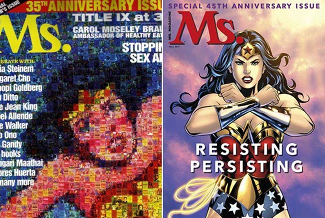 2007年,《仕女》雜誌的35周年紀念刊,也是用許多的舊刊封面,拼湊成神力女超人...