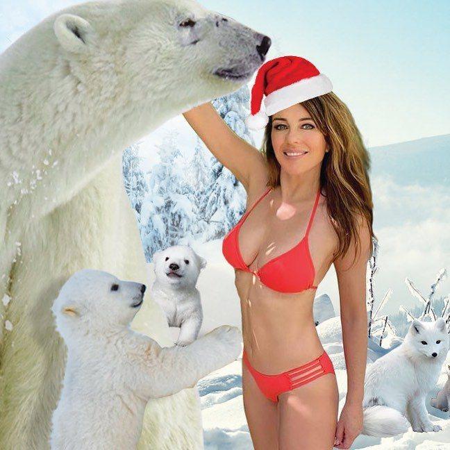 伊莉莎白赫莉的耶誕照又穿上招牌比基尼入鏡。圖/摘自Instagram