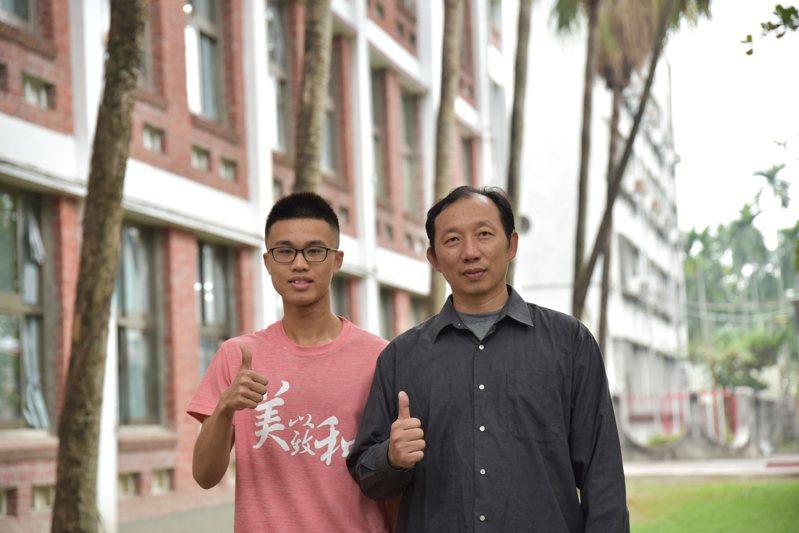 屏東縣私立美和高中高中部三年級廖乙衡(左)與導師申仕政。圖/美和高中提供