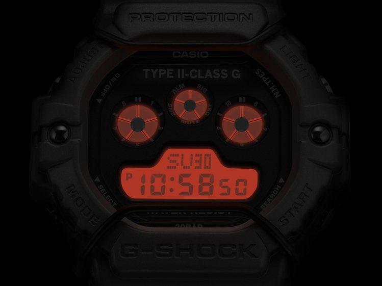 橘紅色EL背光燈為表款點綴獨特軍事風格。圖/CASIO提供