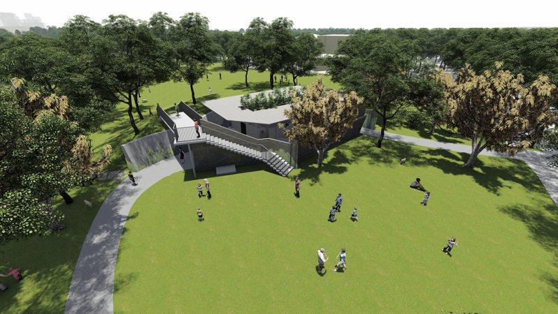 彰化田尾城鎮之心工程改造地標怡心園,目前施工中。圖/彰化縣府提供