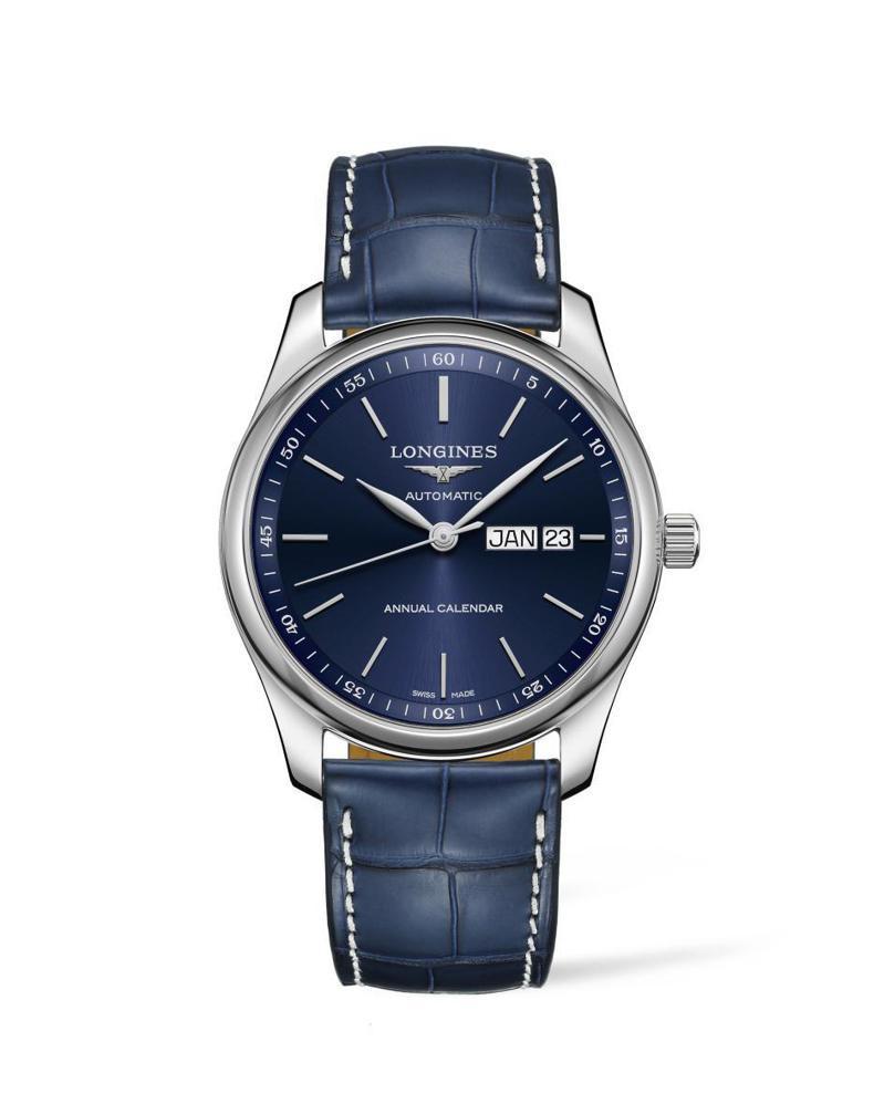 浪琴表巨擘系列(Master)藍色表面年曆腕表,精鋼、40毫米、自動上鍊機芯、時間顯示、年曆功能,73,000元。圖 / Loninges提供。