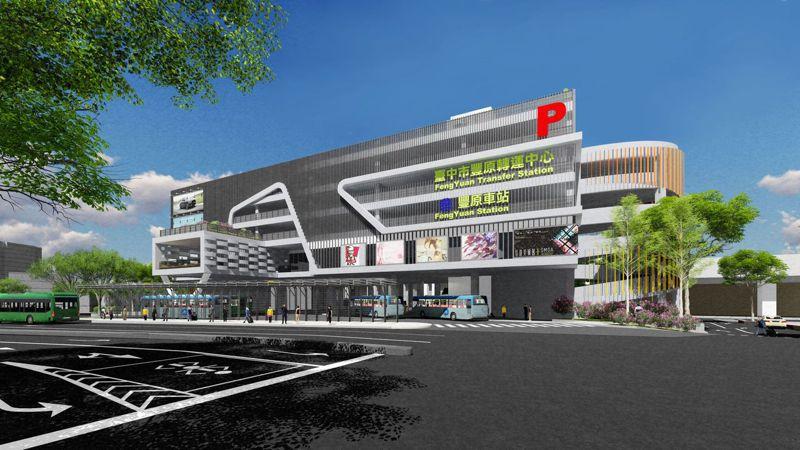 豐原轉運中心公共空間即起徵稿,圖為轉運中心3D模擬圖。圖/台中市交通局提供