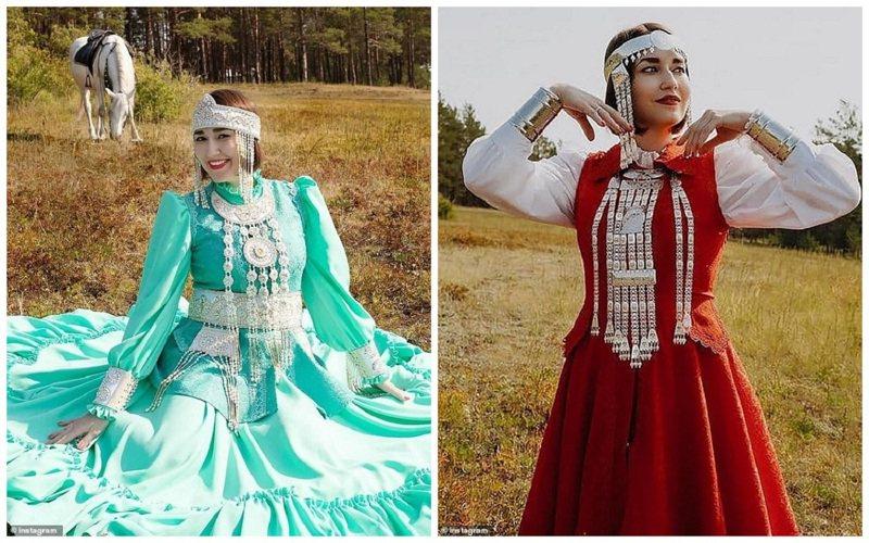 俄罗斯远东联邦管区萨哈共和国贸易、投资与企业部长卫索奇赫在社群媒体贴出她身穿当地民族服饰的照片。画面翻摄:MAILONLINE(photo:UDN)
