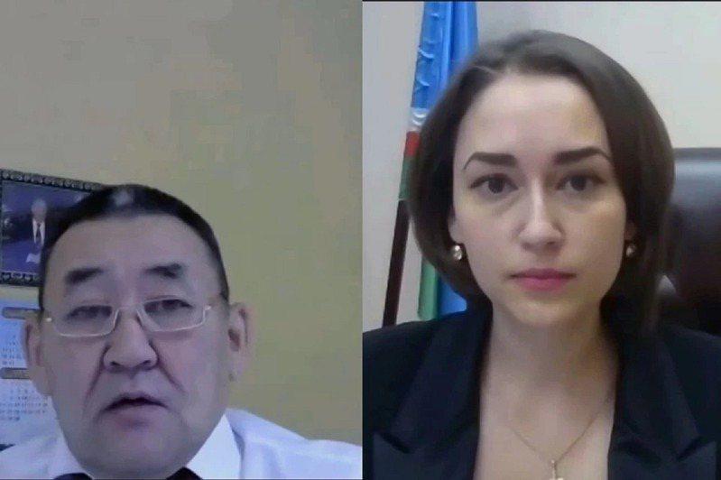 俄罗斯远东联邦管区萨哈共和国议员阿莫索夫(左)称自己身为「健康的男人」,目光当然会锁定贸易、投资与企业部长卫索奇赫(右)「露出来的身体部位」,还指她穿着不够庄重,才害他开会不专心,勐盯着她的「美胸」看。画面翻摄:krsk.kp.ru(photo:UDN)