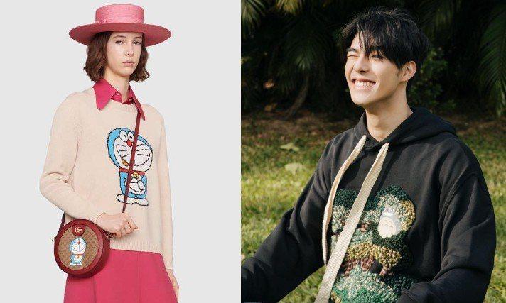 Gucci和Loewe分別與《哆啦A夢》、《龍貓》推出聯名系列。圖/摘自Gucci官網、IG