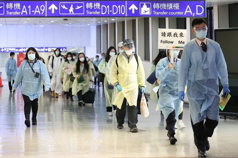 從英國載送114名旅客的華航班機傍晚抵達桃園機場,旅客下機後,在工作人員引導下進行資料審核及通關檢疫。記者季相儒/攝影