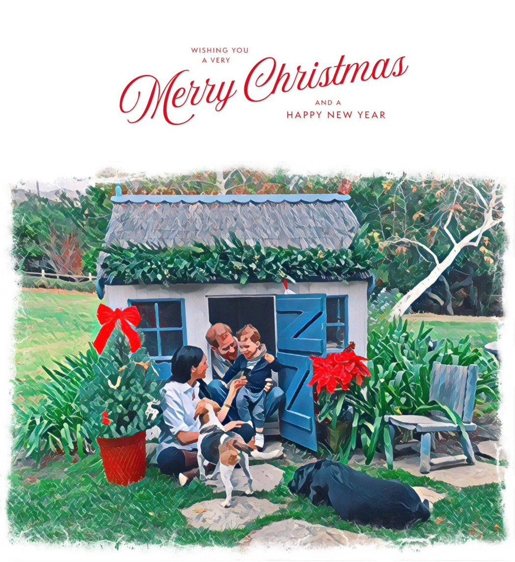 哈利與梅根的耶誕卡讓兒子亞契也亮了相。圖/摘自Instagram