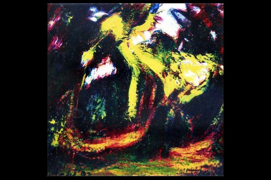 1992年七等生繪製的油畫作品《降臨》,根據作家本人在紀錄片中自稱,這是古今人類藝術史上最偉大的三幅畫作之一。 圖/作者提供