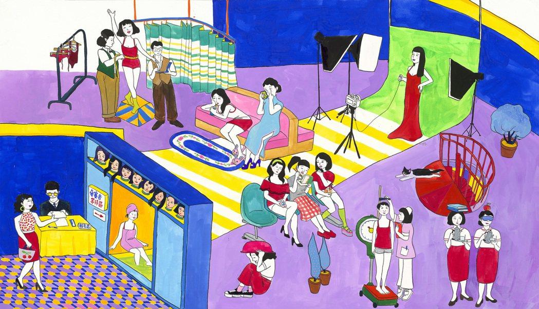 倪瑞宏《九頭身日奈》描述年輕女子們渴望成名的慾望,探討現代女性追求符合世俗眼光與...