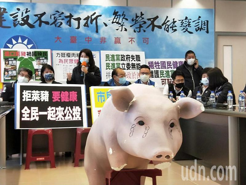 台中市議會國民黨團執行長吳瓊華(中)今率藍軍議員,舉行「反萊豬、拼公投、護健康」記者會。記者張明慧/攝影