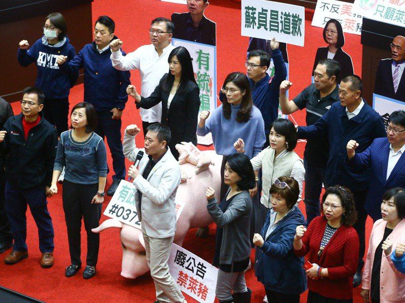 國民黨立委抗議美豬進口,數度杯葛議事。圖/聯合報系資料照片