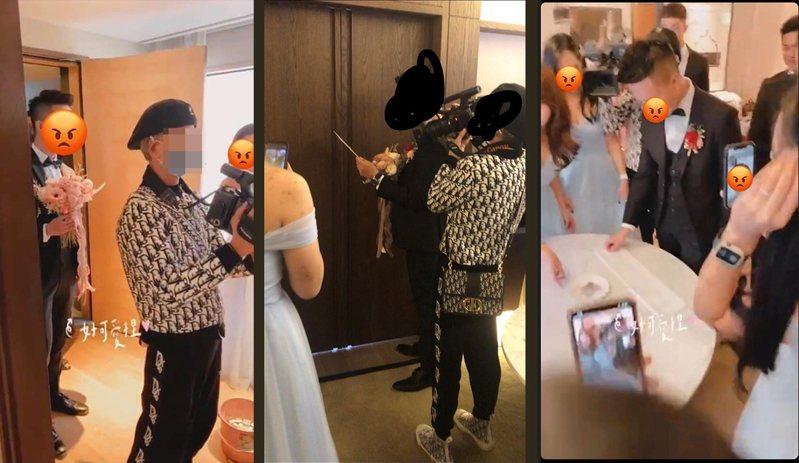 該名婚禮錄影師被爆老是卡在新郎、新娘中間或一些奇怪的位置,當天鏡頭似乎都沒在好好拍現場所有的人。擷自PTT、爆料公社