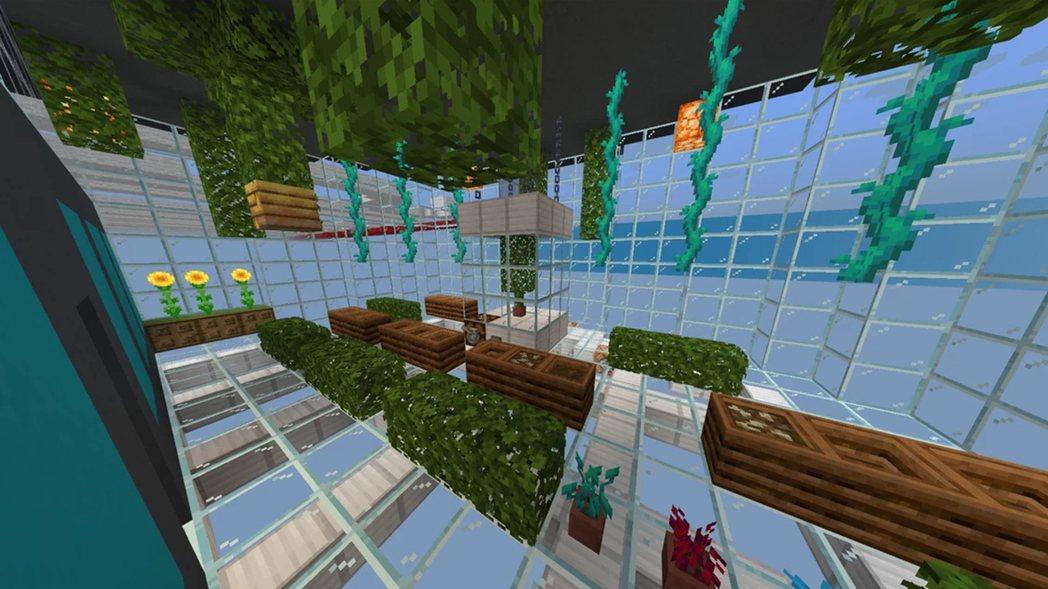 充滿綠意的溫室場景|圖源:ZappyGru發表於PlanetMinecraft作...