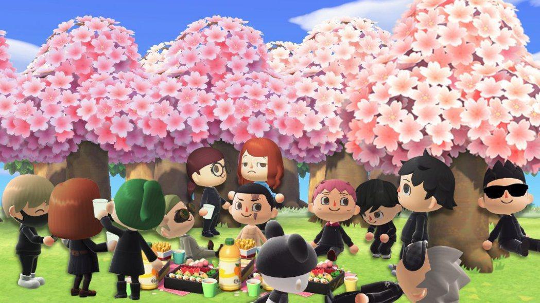 如夢中的景象,所有人聚集在盛開的櫻樹下。如果馬上認出動森版的所有角色,只能是真愛...