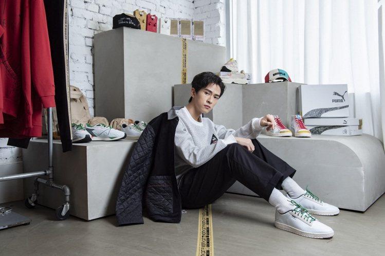 男星石知田搶先詮釋PUMA與Michael Lau聯名系列服飾與鞋款。圖/PUM...