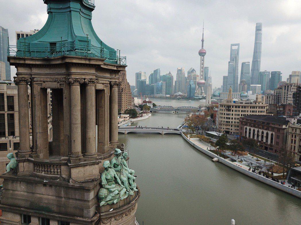 歐盟和中國大陸可望在30日達成投資協定。圖為上海蘇州河沿岸。(中新社)