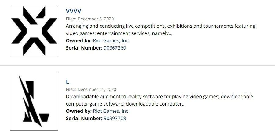 Riot Games 近期註冊了全新商標「VVVV」以及「L」/圖片截自Just...
