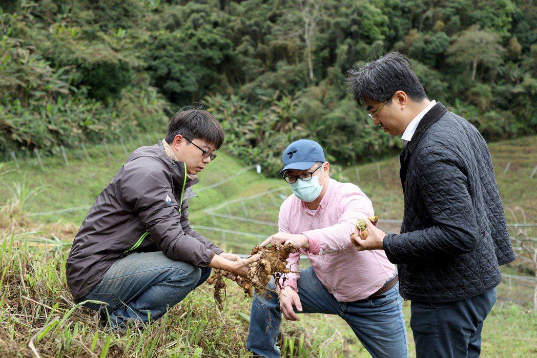 徐仲(右)走訪新竹農家,向薑農交流食材想法。記者余承翰/攝影