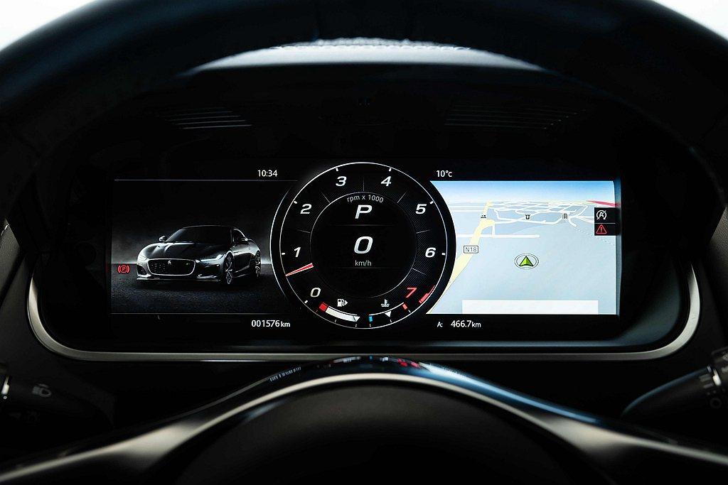 Jaguar F-Type車艙內採用12.3吋高解析度互動式數位儀表板。 圖/J...