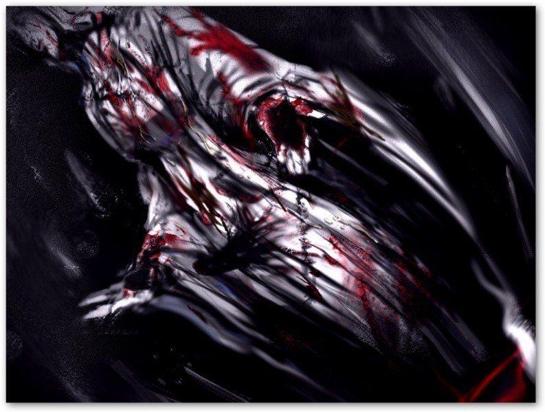 聖母像上被用O液跟血液塗滿全身,並寫上大不敬的「她從一開始就知道這個液體了。」(...