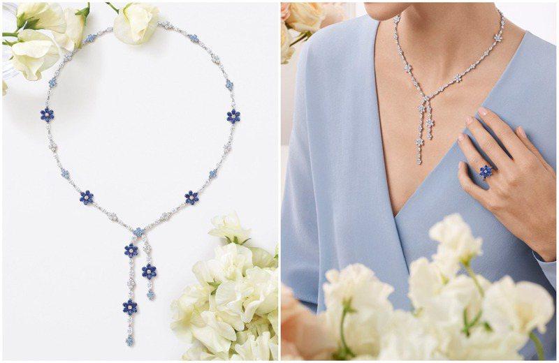 Harry Winston的Forget-Me-Not Lariat鑽石項鍊,帶來婉約、古典的內斂氣質,並有藍寶石、粉紅剛玉兩種組合。圖 / Harry Winston提供(合成圖)。