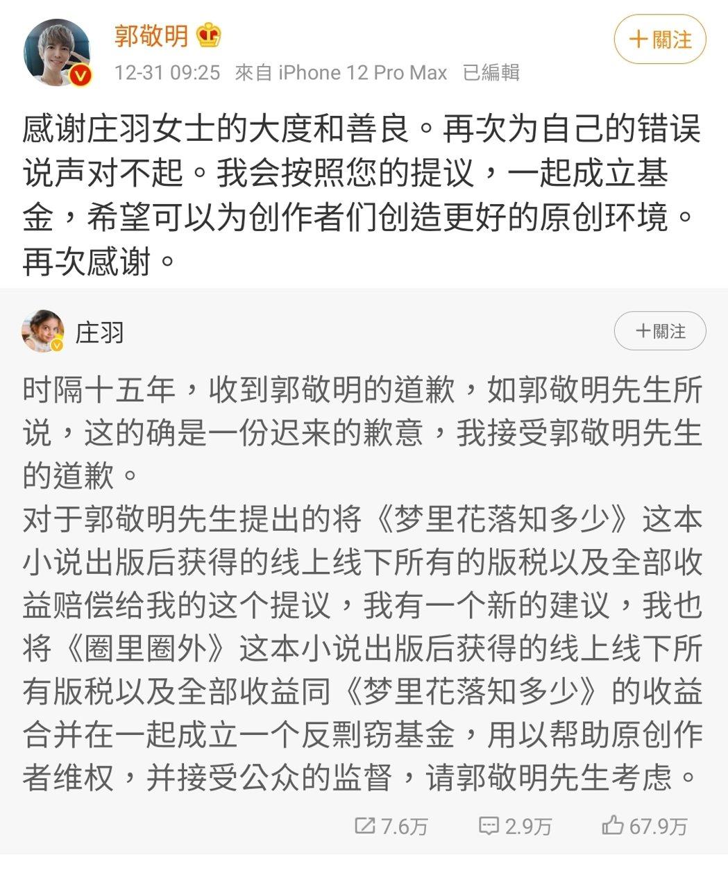 作家莊羽接受郭敬明道歉,還提出成立反剽竊基金。 圖/擷自郭敬明微博