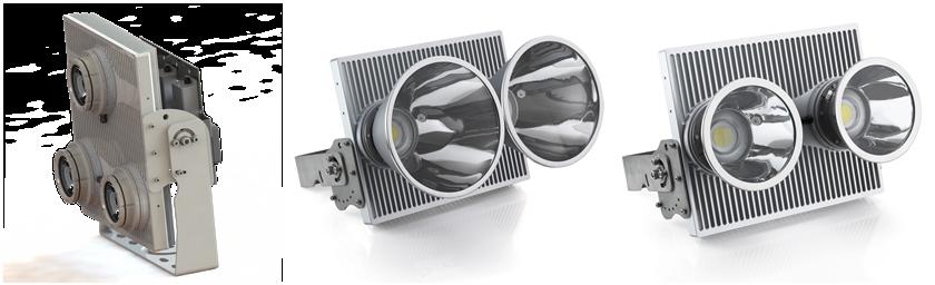 H5高桿燈單體三光源(左起)、單體雙光源10°與15°照明產品。 軒豊/提供